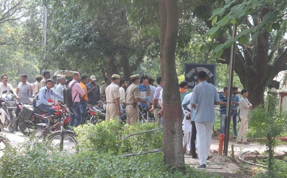 Police on BHU campus after the incident.