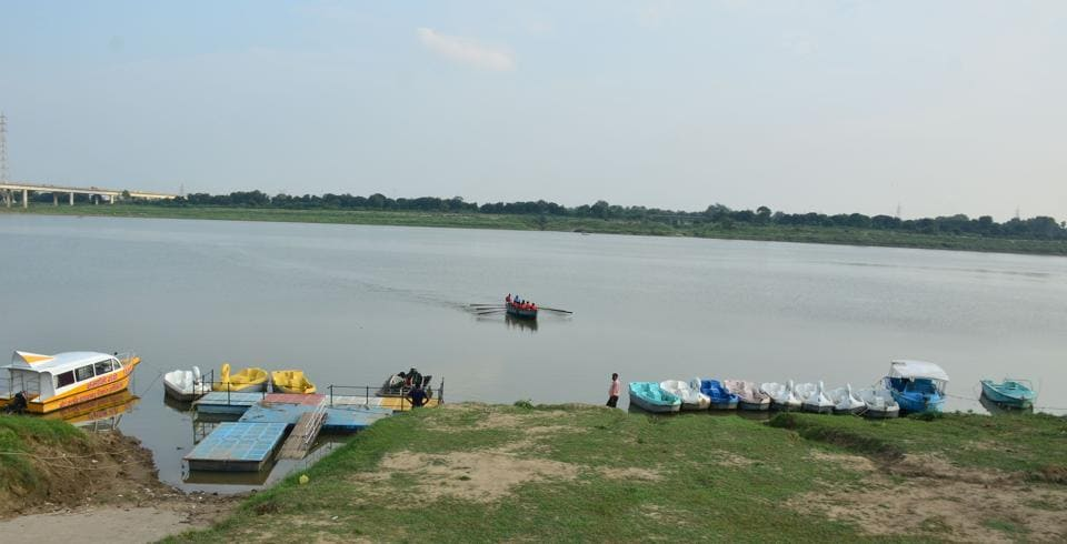 The stretch of Yamuna river near Boat Club where the Ropeway facility is proposed to come up.