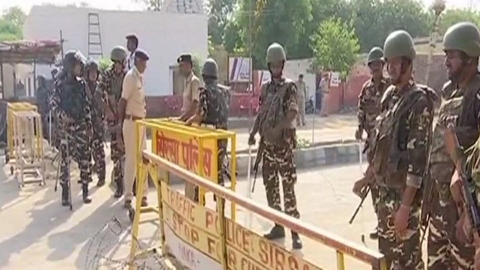 Heavy security in Sirsa as search of the Dera Sacha Sauda headquarters continues on Saturday.