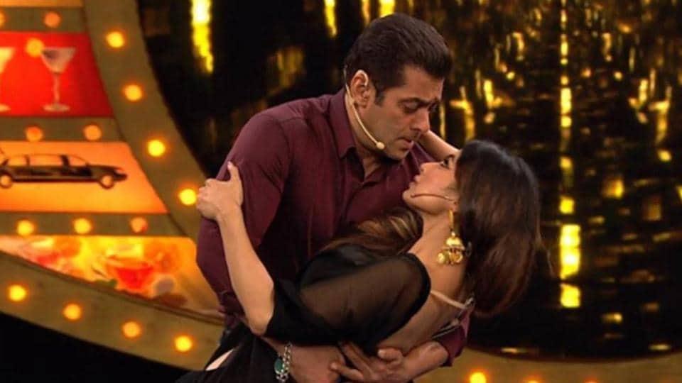 Salman Khan and Mouni Roy on the sets of Bigg Boss 10.
