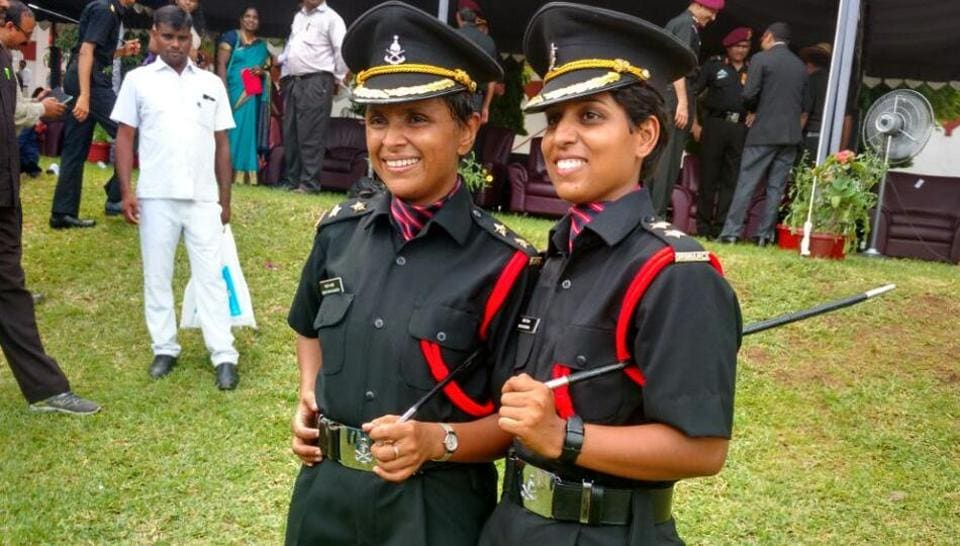 Lieutenant Swati Mahadik and Lieutenant Nidhi Dubey, widows of martyrs who became officers themselves on Saturday.