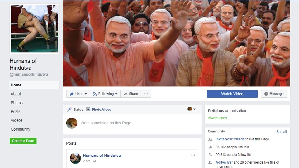 The profile picture of 'Humans of Hindutva' features a man wearing Khaki shorts and a white shirt, similar to the uniform once worn by RSS members.