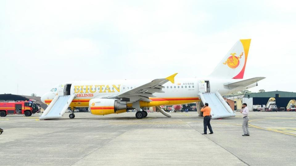 The Royal Bhutan Airlines aircraft that caught fire at the Kolkata airport on Saturday afternoon.
