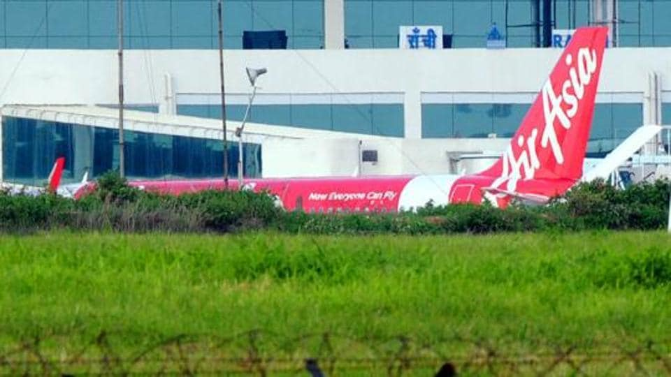 An AirAsia flight at Birsa Munda Airport in Ranchi.
