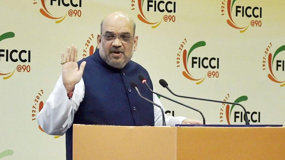 BJP president Amit Shah addresses at an interactive session with FICCI in New Delhi on Saturday.