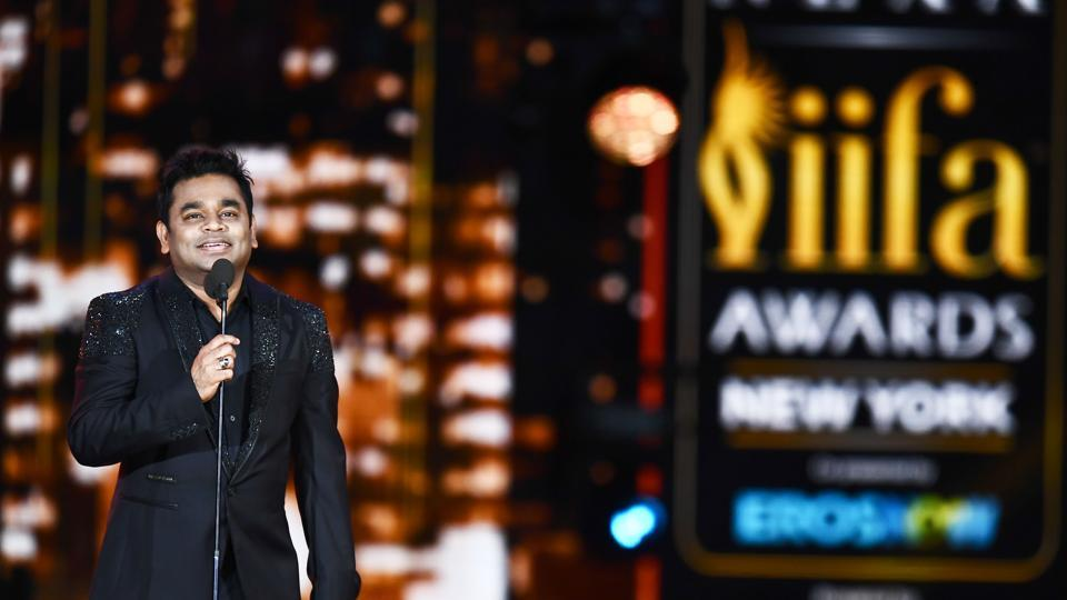 AR Rahman accepts an award during the 18th International Indian Film Academy (IIFA) Festival at the MetLife Stadium in East Rutherford, New Jersey on July 15, 2017.