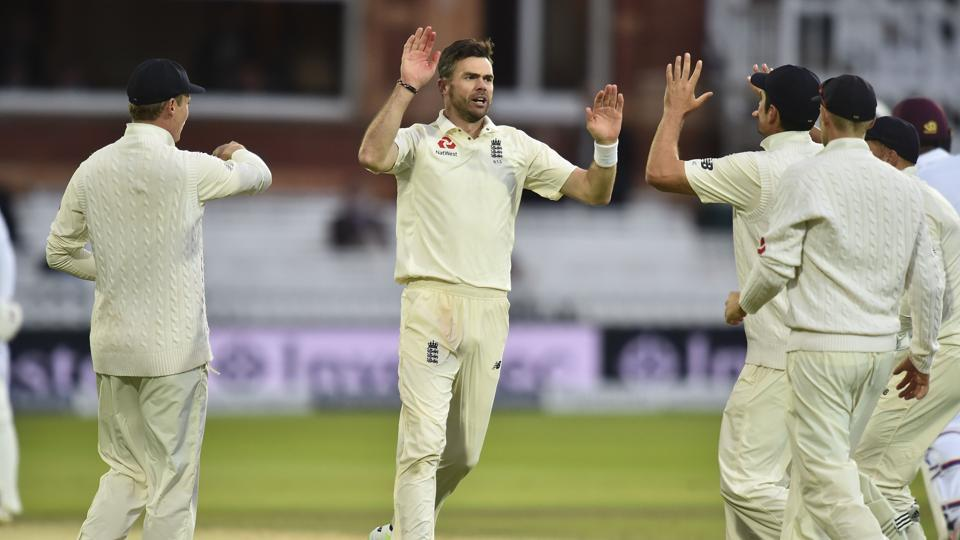England's James Anderson (C) celebrates taking the wicket of West Indies' Kieran Powell during the second day of the third Test match between England and West Indies at Lords.