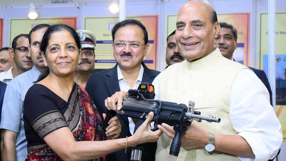 On the first day of Nirmala Sitharaman, the first full-time woman defence minister with Union Home Minister Rajnath Singh at the DRDO Bhawan in New Delhi. (Arun Sharma / HT PHOTO)