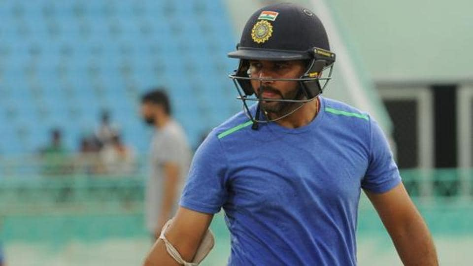 Parthiv Patel gets ready for practice at the Ekana International Cricket Stadium in Lucknow, India.