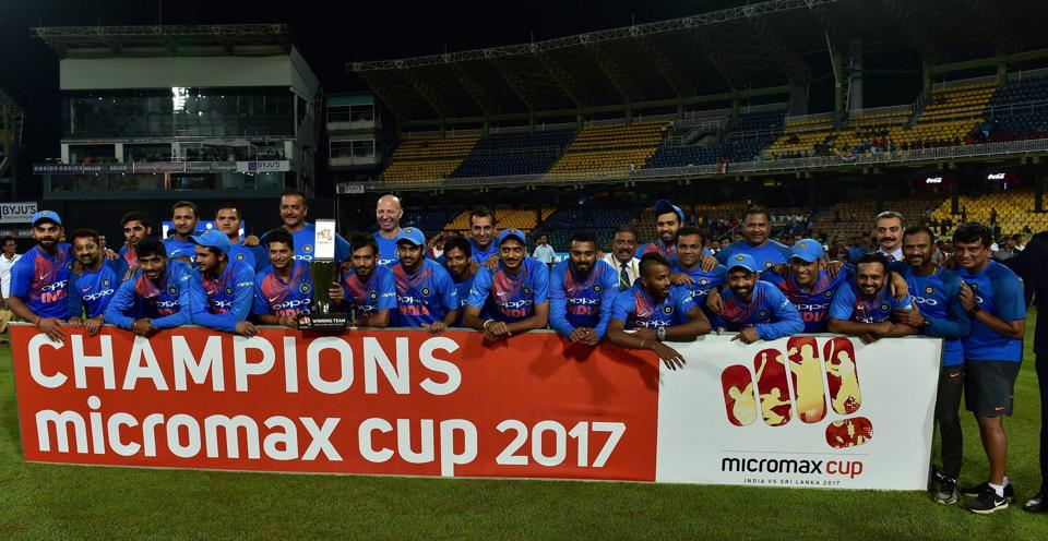 Indian cricketers after their victory in the Twenty20 international cricket match between Sri Lanka and India at R. Premadasa Stadium in Colombo on September 6. (Arun Sankar / PTI)