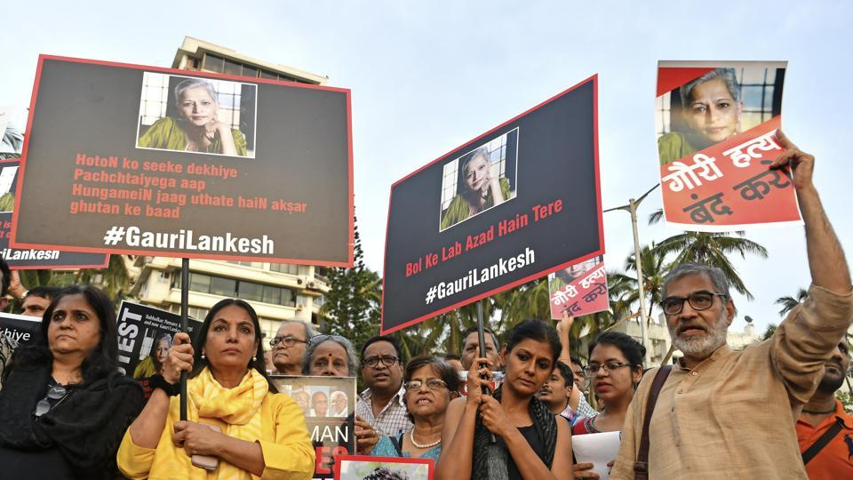 Journalists and activists protest against Gauri Lankesh's murder at Carter Road, Mumbai, September 6.