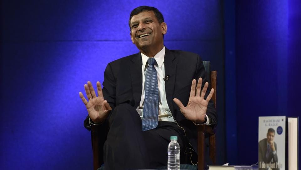 "Former Governor of the Reserve Bank Of India (RBI), Raghuram Rajan reacts during the release of his book, ""I Do what I do"" in New Delhi.  (Mohd Zakir / HT PHOTO)"