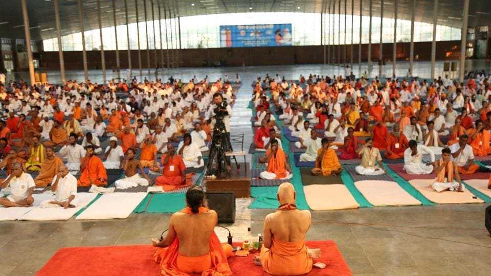 More than 600 Hindu holy men gathered at Ramdev's sprawling Patanjali complex to participate in a five-day 'sadhu sangam' that will conclude on September 11.