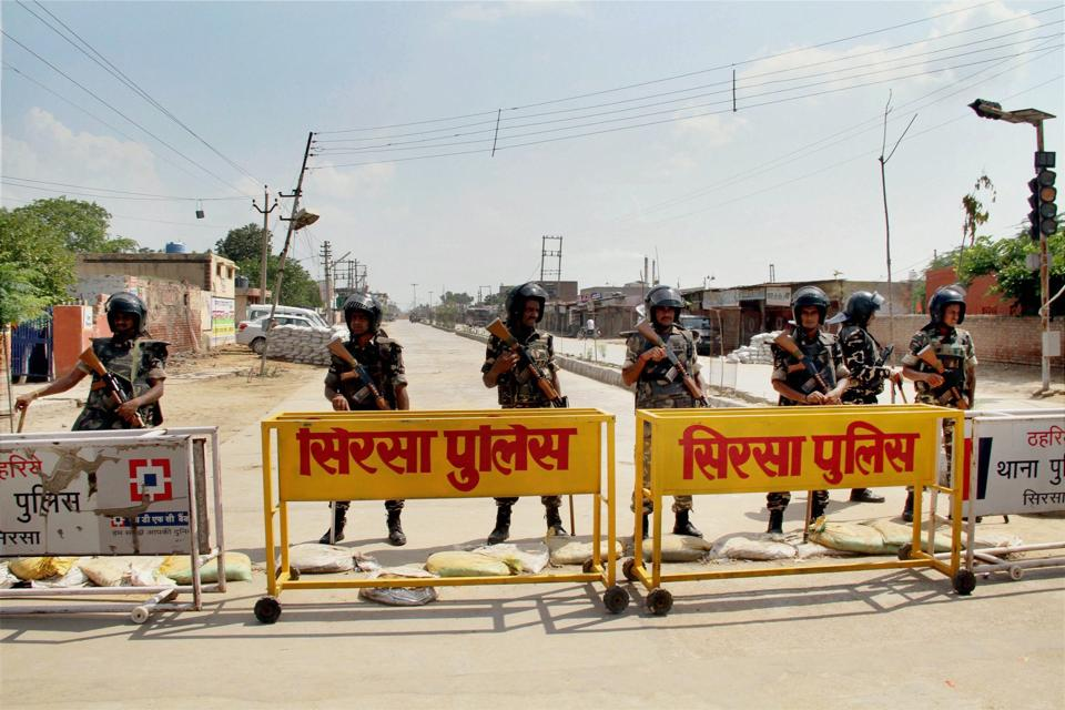 Search operations at the Dera Sacha Sauda headquarters in Sirsa began amid heavy security cover.