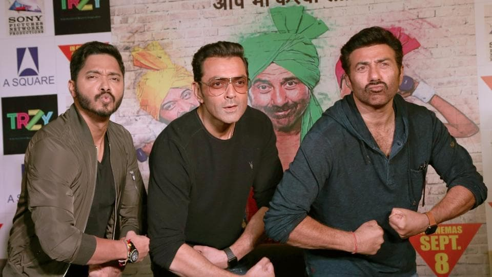 Sunny Deol, Bobby Deol and Shreyas Talpade during a press conference to promote Poster Boys.