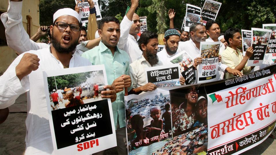 Social Democratic Party activists demonstrate a protest against the atrocities allegedly faced by Rohingya Muslims, in Meerut on Saturday.
