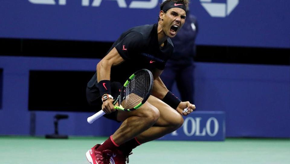 Rafael Nadal reacts after defeating Juan Martin del Potro in the US Open semi-finals. (REUTERS)