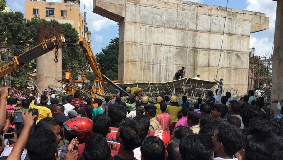The under construction railway flyover bridge in Odisha's Bhubaneswar district that collapsed on Sunday.