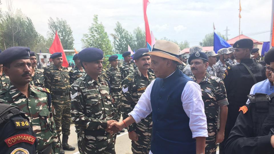 Home minister Rajnath Singh meets CRPF personnel at 90 Battalion camp in Anantnag, Jammu and Kashmir, on Sunday.