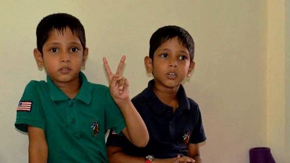 Seven-year-old Sarthak and Varad.
