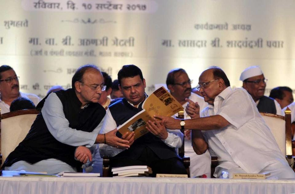 Finance minister Arun Jaitley, CM Devendra Fadnavis and NCP chief Sharad Pawar in Pune on Sunday.