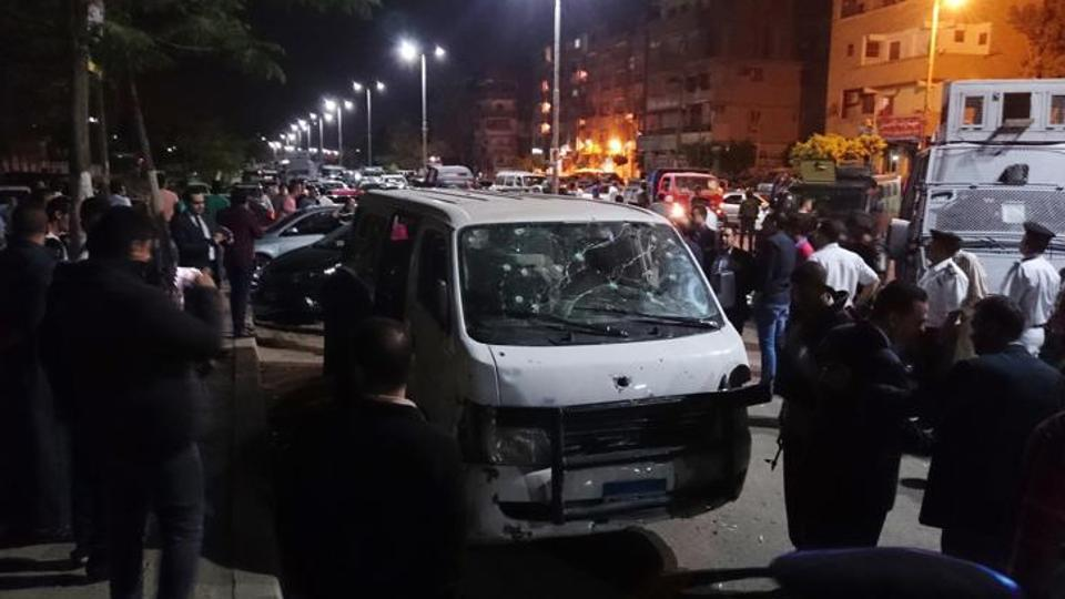 Three policemen were injured after one suspected militant detonated an explosive device to block their entry into the building.