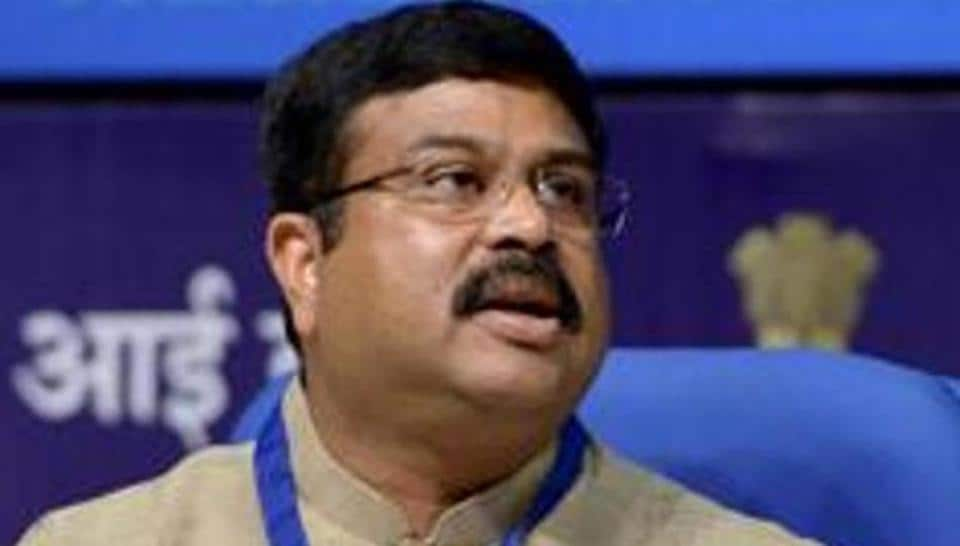 Petroleum minister Dharmendra Pradhan addresses a press conference in New Delhi.