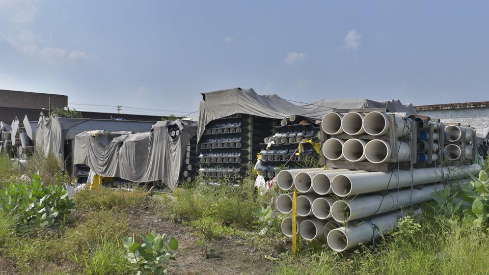Common Effluent Treatment Plants (CETP) machinery gathering dust at the plant site on Tajpur Road in Ludhiana.