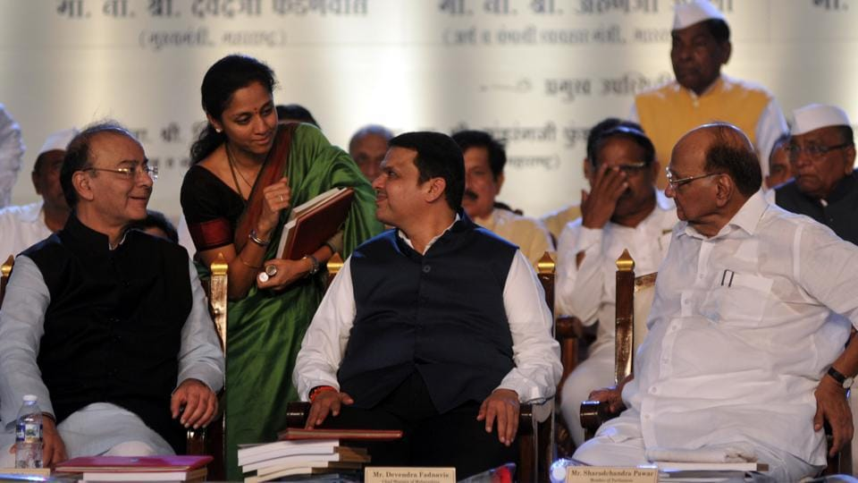 (From left) Finance minister Arun Jaitley, MP Supriya Sule, CM Devendra Fadnavis and Sharad Pawar at the PDCC programme at agriculture College ground on Sunday in Pune.