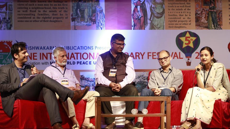 Shifting Paradigm: Panel discussion by Lohit Jagwani, Ashok Chopra, Vishal Soni, Akash Shah and Trisha Bora during the Pune International Literary Festival at Yashada auditorium in Pune on Saturday.