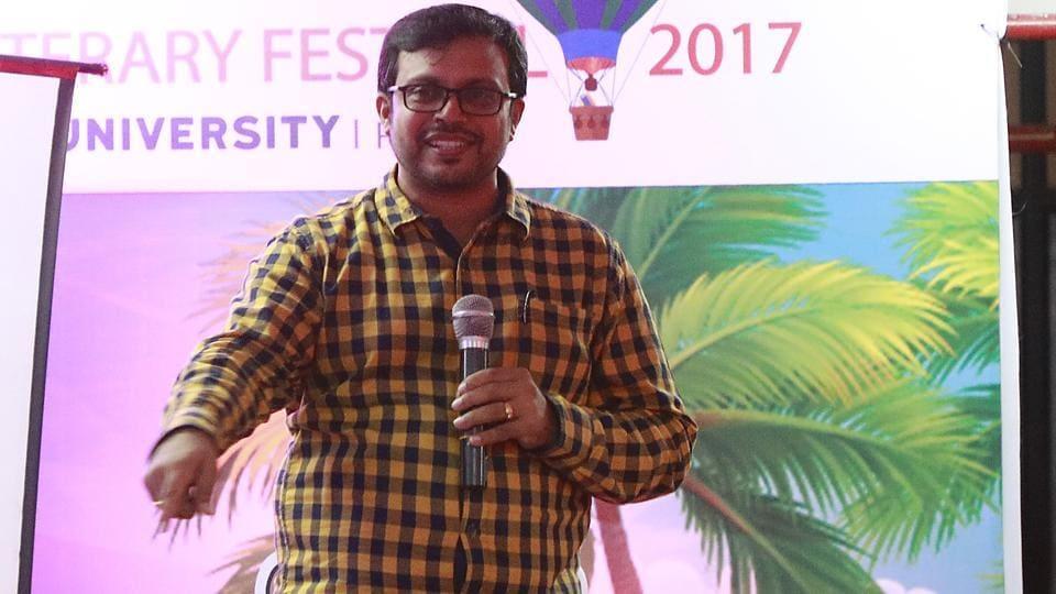 Chenthil Iyer at the Pune International Literary Festival at Yashada auditorium in Pune on Saturday.