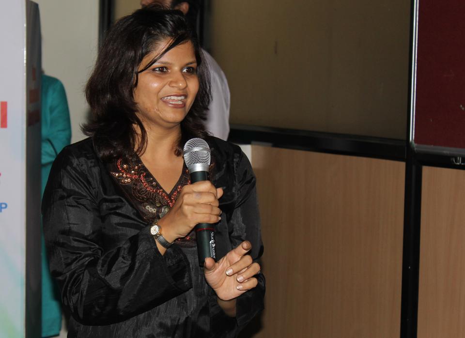 Sawani Arjun, talks about her directorial venture 'Zarina ka kya hoga? ' at PILF 2017 in Pune on Sunday.
