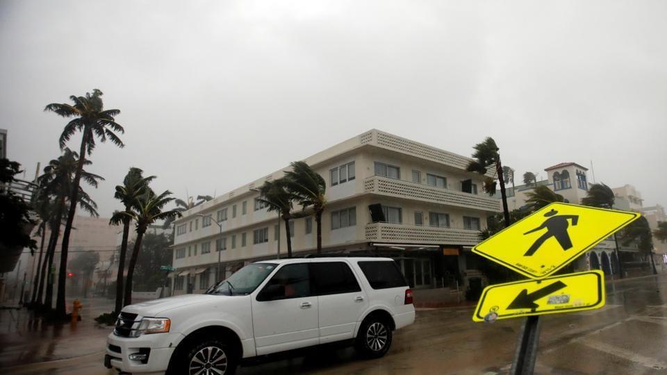 A vehicle drives along Ocean Drive in South Beach as Hurricane Irma arrives at south Florida, in Miami Beach, Florida, US.