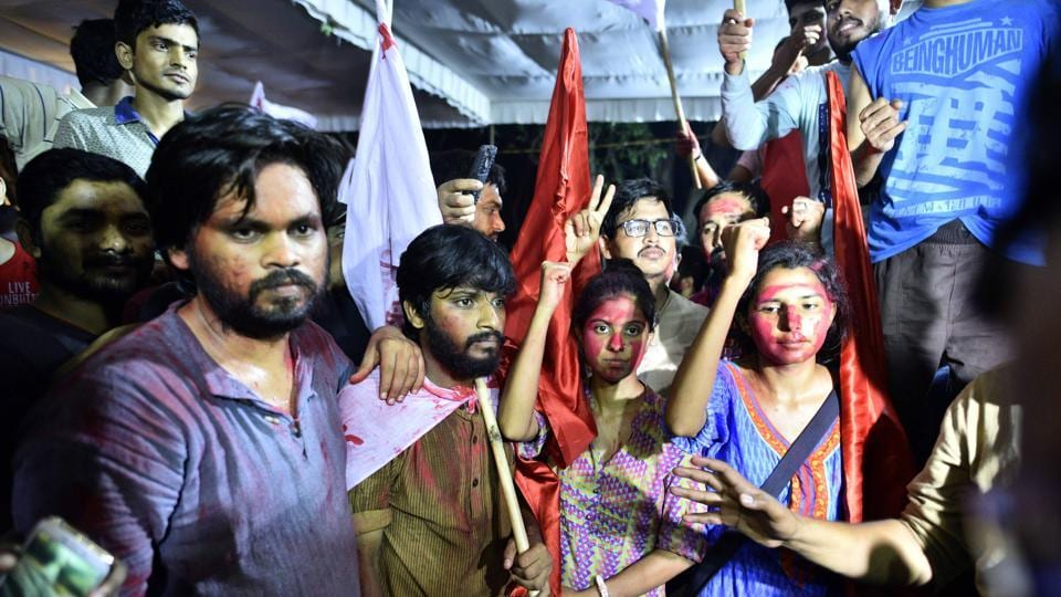 (From left) Shubhanshu Singh, D Srikrishna, Simone Zoya Khan and Geeta Kumar, the winning candidates of United Left alliance in JNU. The ABVP candidates were runners up on all four seats.