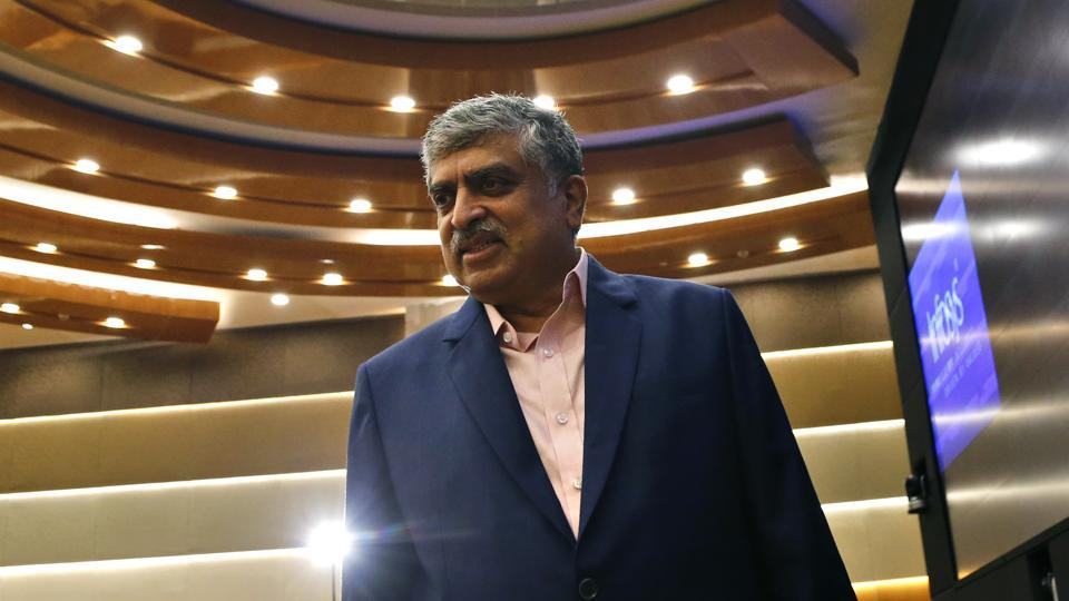 Newly appointed Infosys chairman Nandan Nilekani at the company's headquarters in Bangalore.