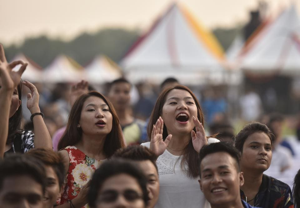 The event held at the lawns of India Gate is open to public from 11am to 10pm. The entry to the venue for the general public is free.  (Ravi Choudhary/HT PHOTO)