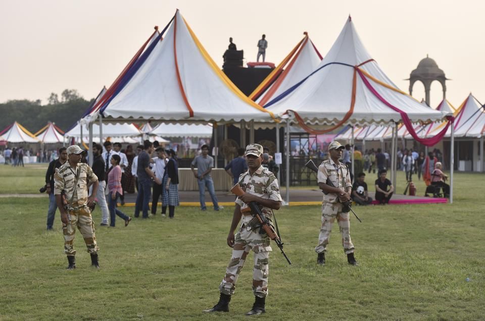 Security personal during the North East Calling festival, at India Gate in New Delhi. (Ravi Choudhary/HT PHOTO)