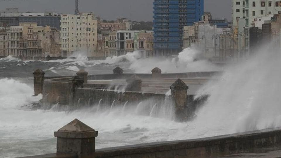 Waves crash against the seafront boulevard El Malecon ahead of the passing of Hurricane Irma, in Havana, Cuba on Saturday.