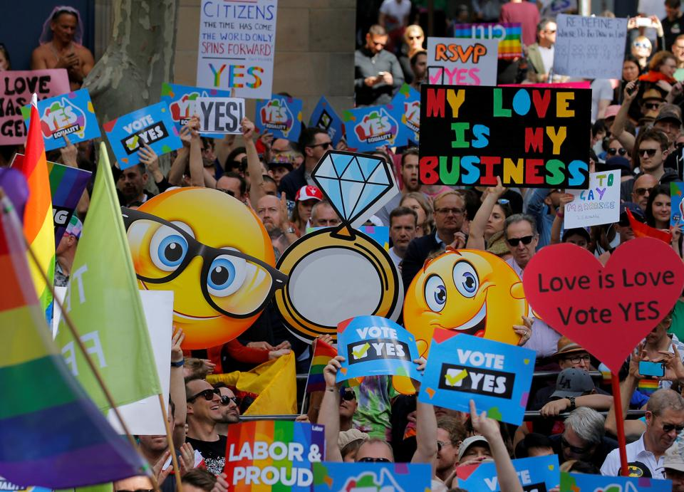 People attend a rally for marriage equality of same-sex couples in Sydney, Australia, September 10, 2017. REUTERS/Jason Reed TPX IMAGES OF THE DAY