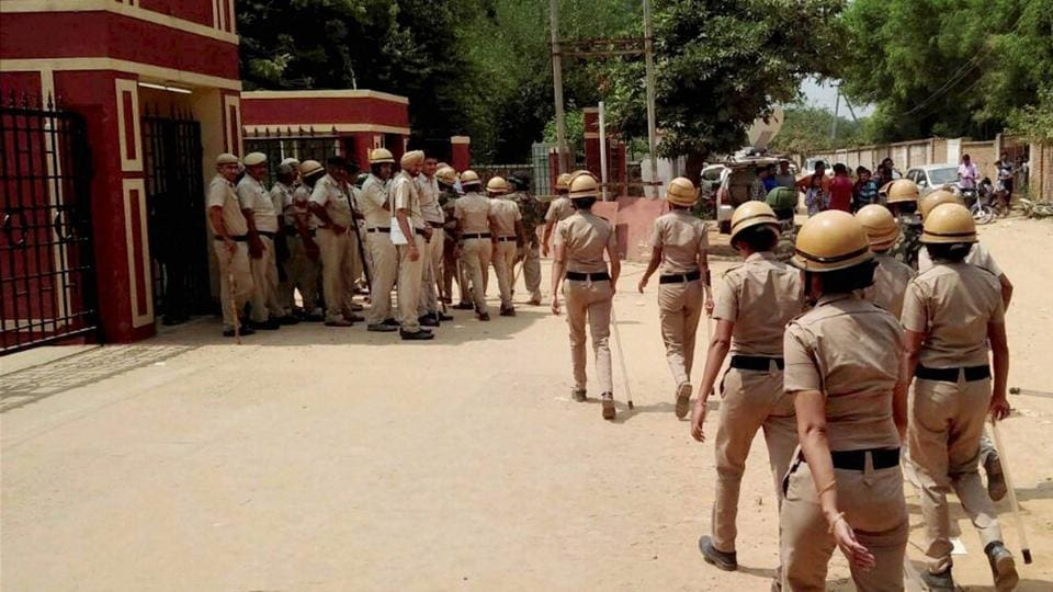 Police maintain tight vigil at Ryan International School after protests, in Gurgaon on Sunday.
