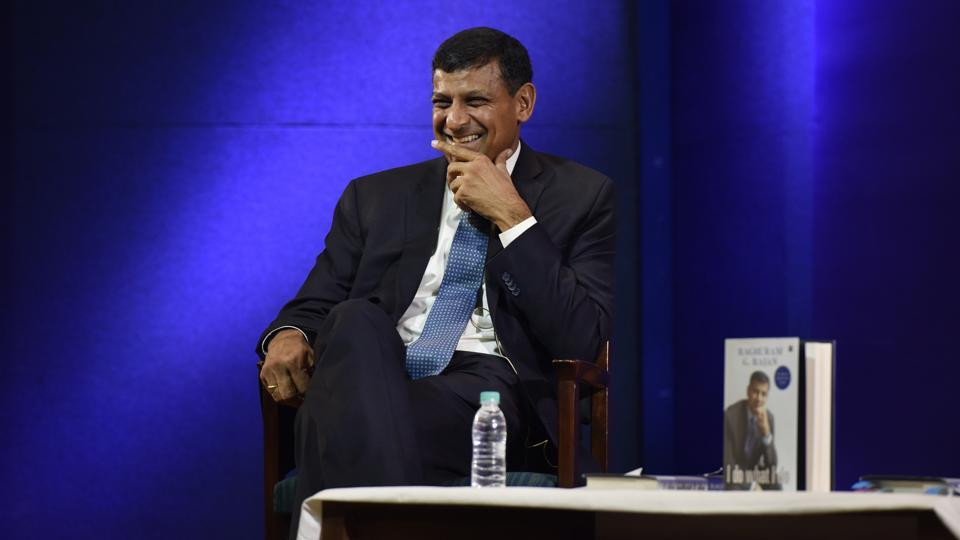 Former Reserve Bank of India governor Raghuram Rajan reacts during the release of his book I Do what I do in New Delhi.