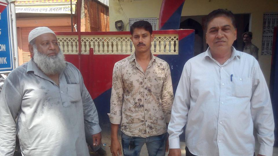 (From left) Gulam Ali khan, Shakeel Khan and Barkat Mirza, members of peace committee, who helped control the mob at Ramganj.