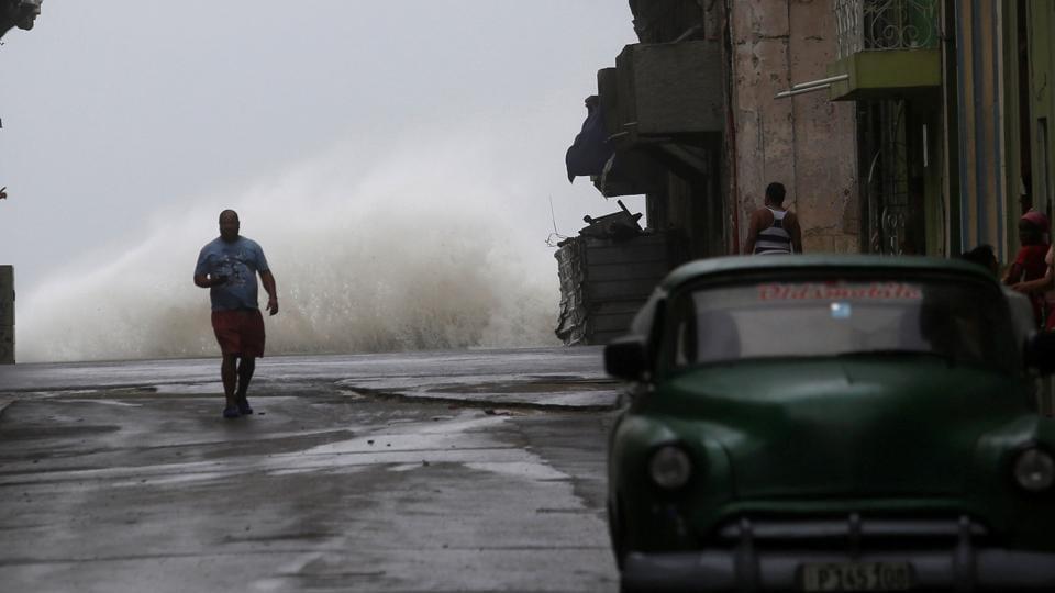 Waves crash on the street as Hurricane Irma turns toward the Florida Keys on Saturday, in Havana, Cuba.