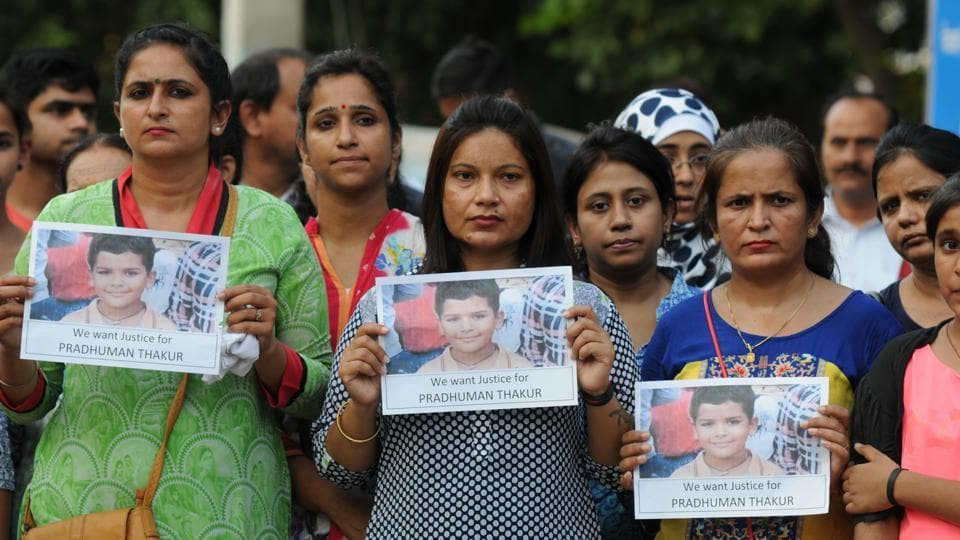 Gurgaon, India- September 10,2017: Parents at Ryan International School held a peaceful march for Justice Pradhuman Thakur, in Gurgaon, India, on Sunday, 10 September 2017. (Photo by Parveen Kumar/Hindustan Times)