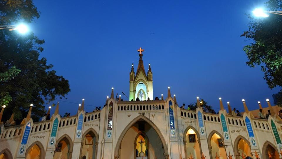 The celebrations centred around Mount Mary Basilica, also referred to as the Festival of Mary,  traditionally began from the first Sunday after September 8, which is celebrated as the birthday of Mother Mary. (Satyabrata Tripathy/Hindustan Times)