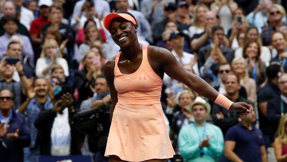 Sloane Stephens reacts after defeating Madison Keys in the USOpen final.