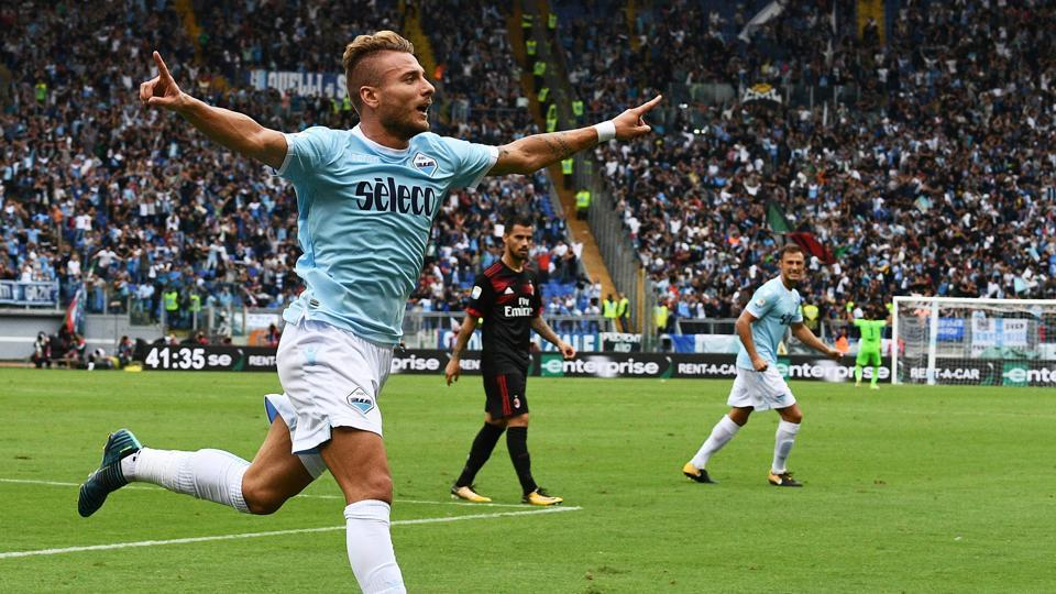 Ciro Immobile celebrates after scoring his second goal for Lazio during the thumping win over AC Milan.