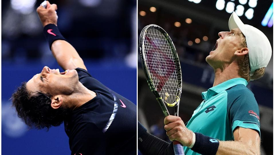 Spain's Rafael Nadal (L) will take on South Africa's Kevin Anderson in the men's singles final at the 2017 US Open in New York onSunday.