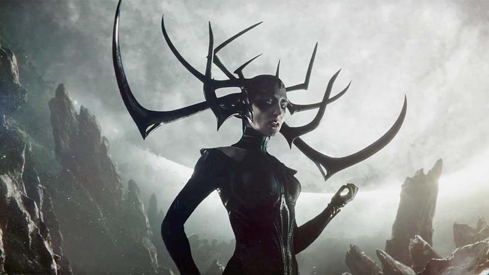Cate Blanchett as Hela from Thor: Ragnarok.