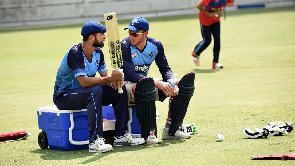 Grand Elliot and David Miller at a practice session ahead of the Pakistan vs World XI series.